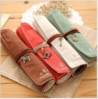 Wholesale stationery box curly Pencil Case canvas pen curtain elegant makeup bag Pencil bag
