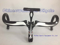 Wholesale Newest most black white Full carbon road Racing Bike integrated handlebar with stem caliber mm