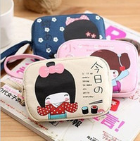 Wholesale A0226 beige girl double zipper fabric coin purse coin case mobile phone bag