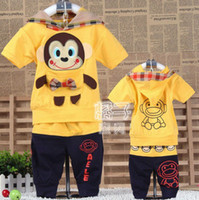 1T-4T Boys Girls Unisex Summer Free Shipping 2013 Summer Boys Girls baby clothing Monkey short sleeve Children's sports suit baby clothes children suits