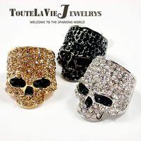 Three Stone Rings fashion jewelry usa - 1 Rock Punk Skull Ring European amp American fashion jewelry ring Alloy Rhinestone lovers fashion accessories TO USA
