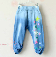 Christmas Girl 8T-9T Ripped Jeans Summer Shorts Children Casual Pants Fashion Star Pattern Jeans Girls Blue Jean Shorts Kids Pants Denim Jeans Child Clothing