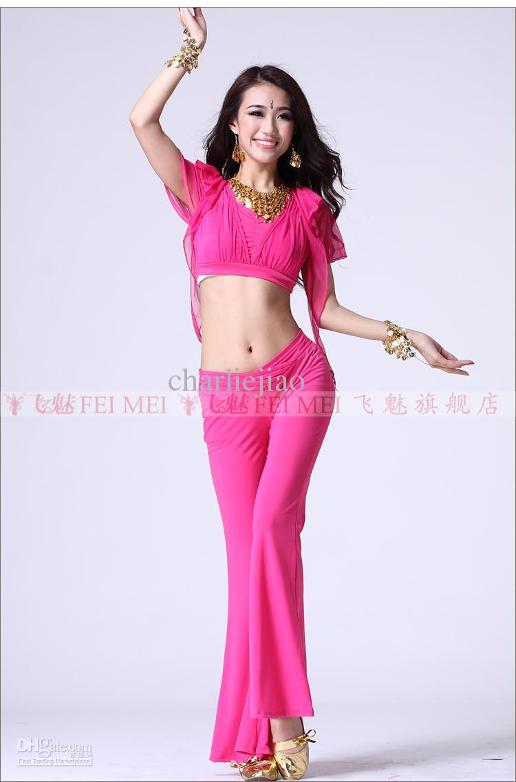 The new practice belly dance set women wear costumes clothing performance belly dancing set dual split