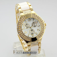 Wholesale newest quartz women gold silver watch lady wristband GS watches with imitated diamonds Hour marks