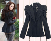 Wholesale 2013 new women Ladies Black Suit Blazer One Button Shrug Shoulder Jacket Coat double Collars