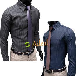 Wholesale Men s Stripe Stylish Casual Dress Slim Fit Long Sleeve Shirts Color Black Blue Size Adeal