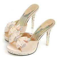 Stiletto Heel PU Women 2013 fashion style bow rhinestone wild stiletto ladies sandals and slippers Item: 58761