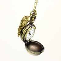 Wholesale 5 Harry Potter Golden Snitch Watch Steampunk Quidditch Pocket Wings Necklace Chain