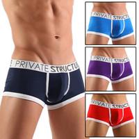 Cotton men's underwear - 5 Colors Trunks New Adult Sexy Men s Boxer Brief Man Cotton Underwear Short Lingerie Pouch Trunks Bulge Bulging Low Rise Boxers Briefs