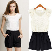 Women Lace Layered Short Sleeve Cocktail Party Evening Jumps...