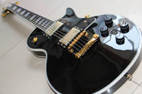Wholesale Chinese guitar black custom shop ebony fingerboard electric guitar gold hardware HOT SALE