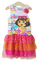 Wholesale The international children s day children party dress girl vest skirt princess cake dress night skirt genuine Dora vest dress