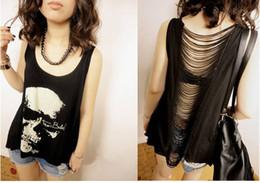 Wholesale - 2014 fashion T shirts Skull Punk Singlet Dress Vintage Tank Pop Sexy Top long Tee T-Shirt