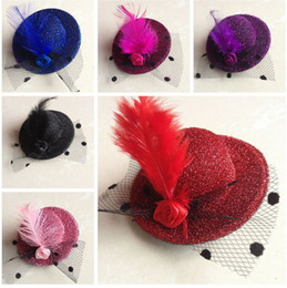 Wholesale 5CM Gril Children Pet Rose Feather Hair Clip Mini Top Hat Cocktail Party