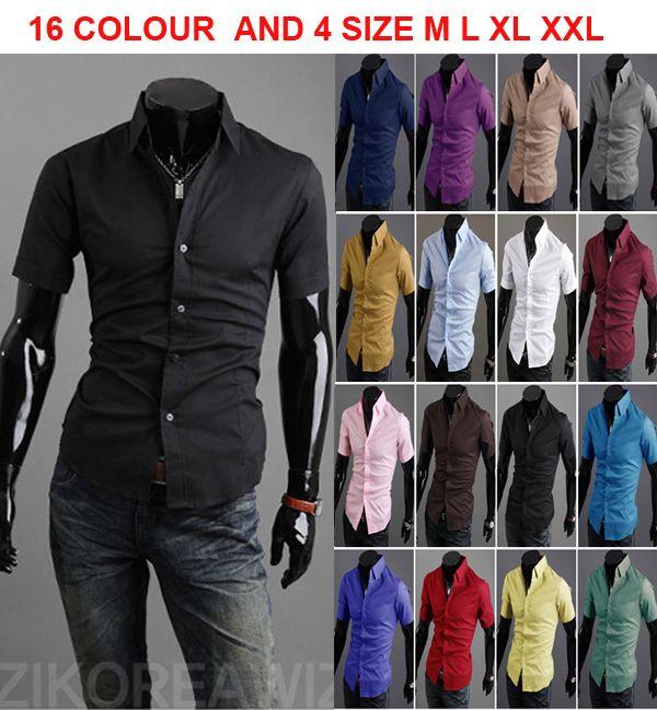 Monde New Summer 16 Colours Men's Shirts Korean Casual Slim Fit ...