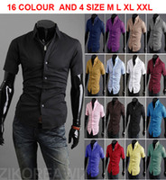 Wholesale monde new Summer colours Men s shirts Korean Casual Slim fit Mens shirts fashion Men s Short Sleeve shirts size M L XL XXL