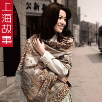 Wholesale Autumn and winter women s print scarf blooping rich cashmere cape