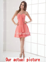 Wholesale Jacinth Graduation Dresses Chiffon Spaghetti Straps Zipper A Line Beading Beaded Mini Length Ruched Homecoming Dresses Party Dresses