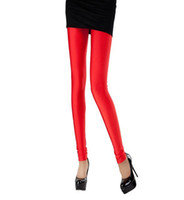 Women Skinny,Slim Ankle length Women Lady Fluorescent Stretchy Neon Shiny Punk Rock Sexy Spandex Ankle Length Footless Pantyhose Leggings Tight Pant Promotion!!