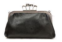Shoulder Bags Genuine Leather  Wholesale Leather Handbag Skull Clutches Black Fashion Designer Knuckle Ring Bag Party Bag Shoulder Bag Detachable Chain Strap Top Quality