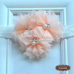 Triple Tulle Flower Shabby Chiffon Headband Matching Baby Two Pearl and Rhinestone Flower Headbands 120PCS lot QueenBaby