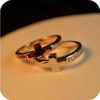 Wholesale Cheap Engraving Gifts - Cross Wedding Rings Jewelry Women Men Forever Engraved Love Ring 24pcs Lot The Cheap