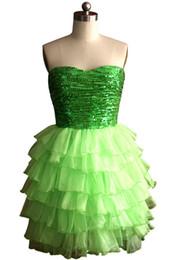 2016 Standard / Plus Size Custom Made Vert Brillant Paillette paillettes corsage court Fashion Ruffle A-Line Cheap Graduation Robes de bal de cérémonie