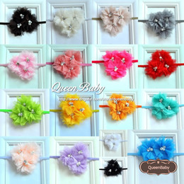 Triple Tulle Flower Thin Headband Matching Sparking Rhinestone Pearl Shabby Chiffon Hair Band 20PCS lot QueenBaby