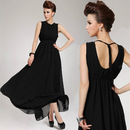 Summer Women Dresses Sexy Halter Chiffon Dress Plus Size Backless Ball Gown Black Long Dress Size S-XL