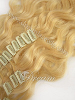 "blonde wavy 7pcs/set wholesale stock hair extension ! brazilian hair clip in hair weaving 15-24"" body wave blonde color #14 16 18 22 24 60 613"