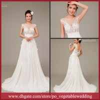 Wholesale 2013 White Sexy Jewel Sequin Applique Bandag A line Floor length Chiffon Wedding Dress