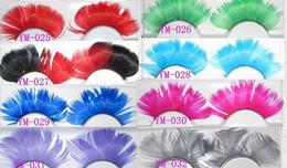 Cils de scène à vendre-Coloré de mode plume cils faits à la main faux cils partie magnifique exagération cils eye lace étape mélange de maquillage ordre 50 paires / lot