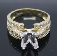 semi mount ring - SOLID K TONE GOLD NATURAL VS DIAMOND Wedding Engagement SEMI MOUNT SETTING RING G0157