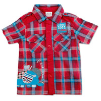 Wholesale C2831 Nova children boys woven check shirt pure cotton two chest pockets elephant embroidery amp applique short sleeve plaid shirt for summer