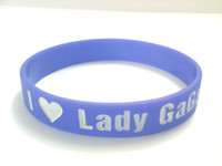 Wholesale I love lady gaga wristband silicon bracelet fans gift filled in colour promotion gift colors
