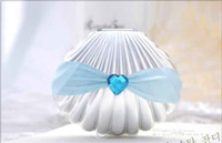 Wholesale Beauty Wedding Boxes Silver Color Shell With Crystal Heart Favors Holders Boxes