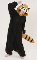 al por mayor traje adulto del mapache-¡Venta caliente! Racoon Nuevo traje de Cosplay del Anime de los pijamas de Kigurumi vestido unisex adulto de Onesie S / M / L / XL