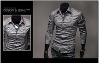 Wholesale NEW V style Men s Long Sleeve Shirts Cotton Lapel Mens Shirt Slim Dress Shirts For Men Business Shirts