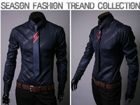 Wholesale NEW Large size S M L XL XXL XXXL Men s Long Sleeve Shirts Cotton Lapel Mens Shirt Slim Dress Shirts For Men Business Shirts