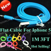 Wholesale 1M FT USB Flat pin Cable For Iphone Noodle Data Sync Colorful Adapter Cord for Ipad Mini Iphone5 G Itouch Ipod Nano Hot Selling