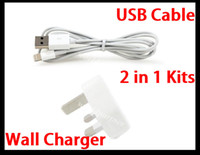 Wholesale 2 in Kits M Length Pin USB Data Sync Charger Cable Line UK Plug Travel AC Wall Charger Power Adapter for Iphone Ipad Mini ITouch