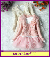 Wholesale New Spring Autumn girls lace flower bead piece sets long sleeve coat T shirt one piece dress children kid suits pink beige Q2057