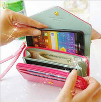 Wholesale New upgrade zipper Multifunctional crown Envelope Wallet coin bags women Purse girls Phone Case for Iphone Galaxy S2 S3 t5210