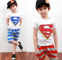 Wholesale 2013 Children s Day Gifts Middle Small Boys Girls Clothes Platform Clothes Summer Superman Tshirts Shorts Summer Cotton Baby Chothes