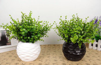 Wholesale 10 x Fashion Artificial bonsai green plants plastic Eucalyptus potted plant for House decor flowers in