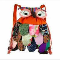 Unisex adult backpacks - National OWl style colorful bag Modern Vintage candy colors cotton owl backpack children adults leisure bags cm t5205
