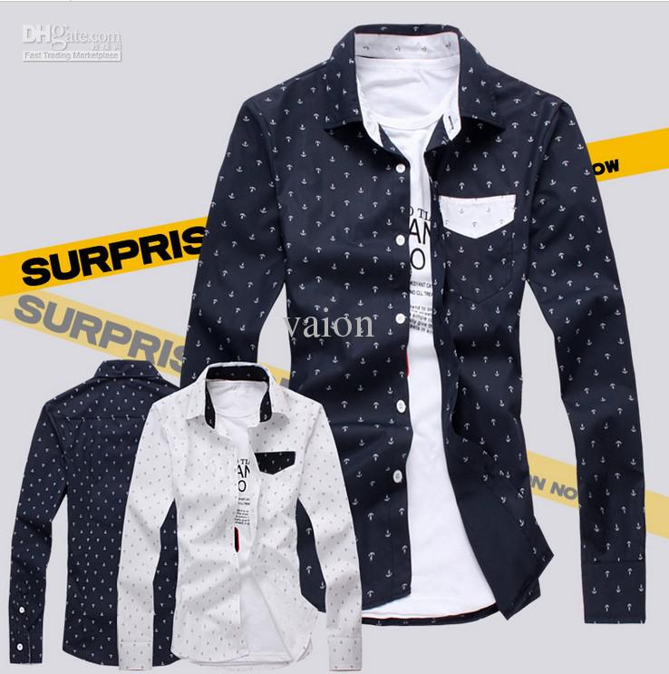 NEW Unique Anchor Printing Slim Shirt Men's Long Sleeve Shirts ...