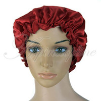 Wholesale Soft Silk Night Sleep Cap Sleeping Hat Bonnet Burgundy Sleepwear many colors choose your color