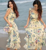 ladies casual wear - In Stock Now Bohemian Chiffon Floral Printed V Neck Ruffle Layered Long Maxi Evening Party Beach Dress Lady Fancy Wear Lovely Clothes B0002