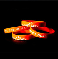Unisex basketball rubber bracelets - New Active Faith Basketball Sports Rubber Band Bracelet Men Women Boys Girls In Jesus Name Silicone Wristbands Football Teams Bangle